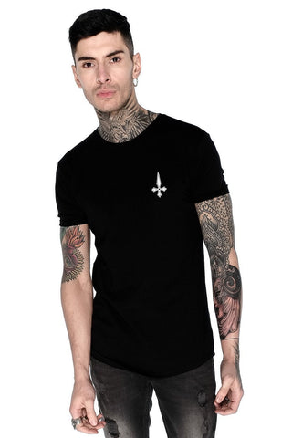 Judas Sinned All Over Rose Skull Print T-Shirt - Black