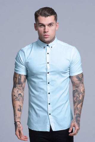 Mens Judas Sinned Smart Short Sleeved Disciple Men's Shirt - Light Blue (Shirts) - Judas Sinned Clothing