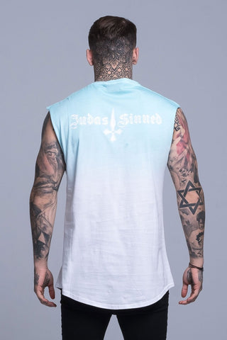 Mens Judas Sinned Sun Dip Dye Cut Off T-Shirt - Blue (CUT OFF VEST T-SHIRT) - Judas Sinned Clothing