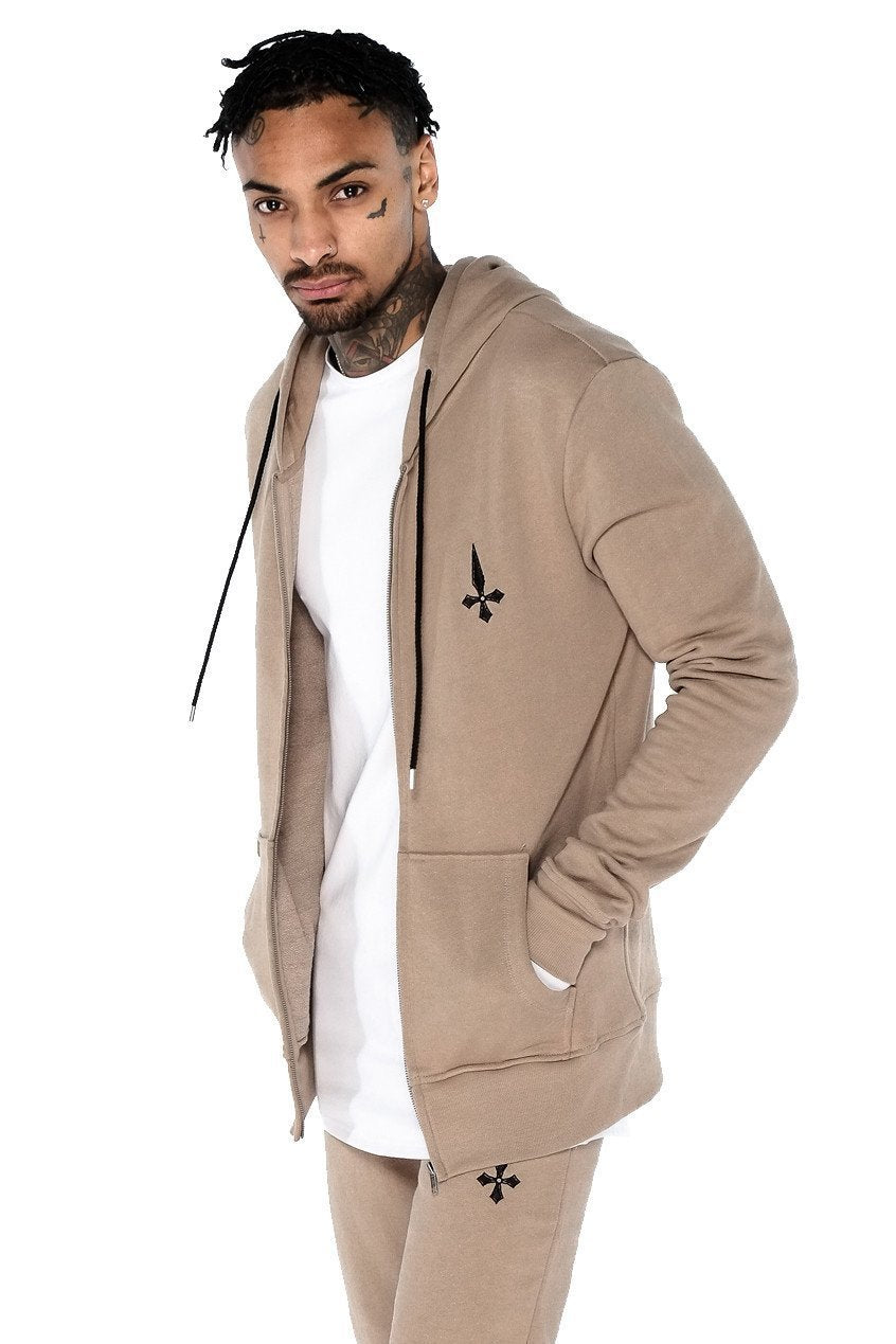 Mens Judas Sinned Zip Thru Tracksuit Men's Hoodie - Caramel (HOODIE) - Judas Sinned Clothing