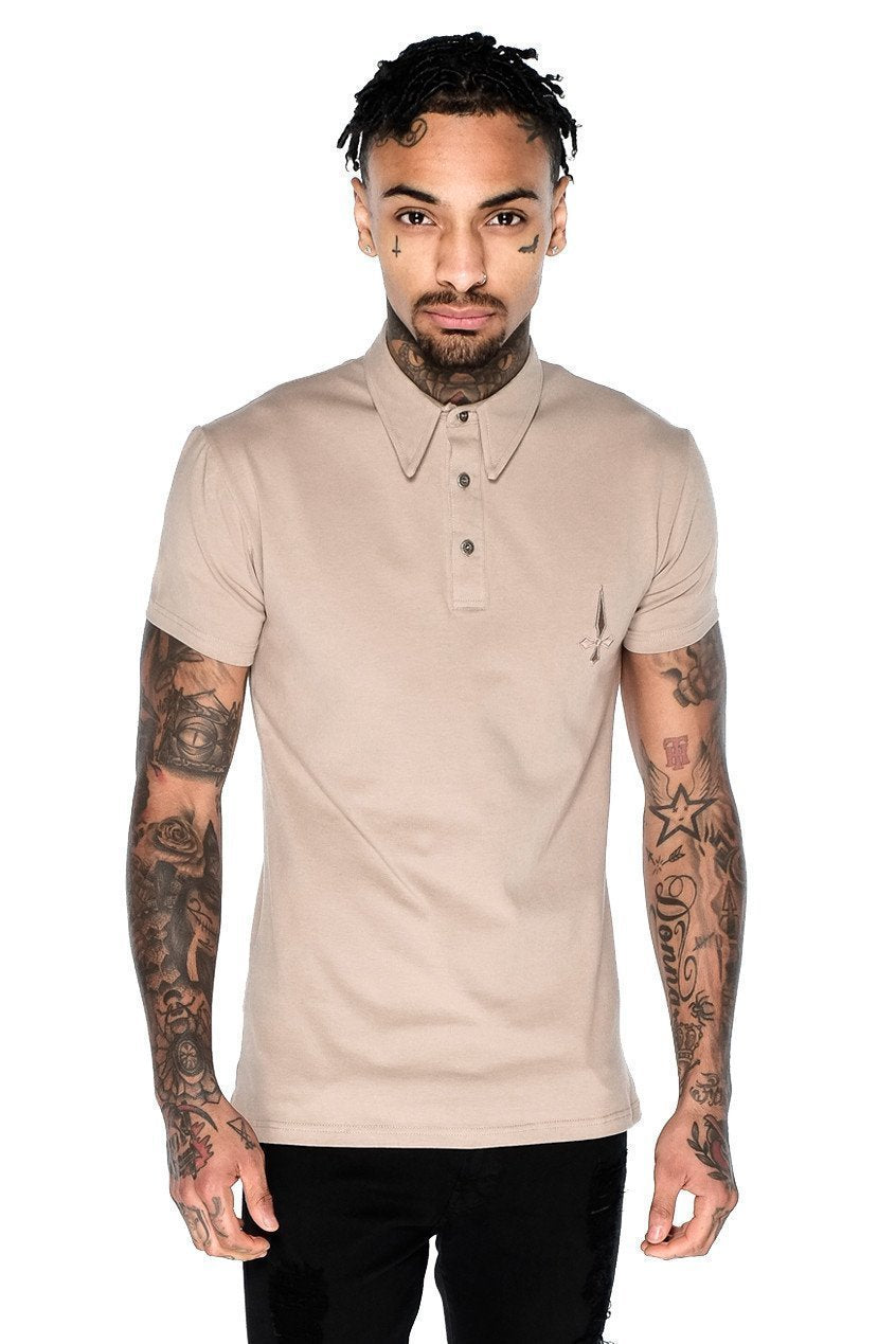 Judas Sinned Short Sleeved Jersey Polo Men's Jersey Polo Shirt - Caramel - Judas Sinned Clothing