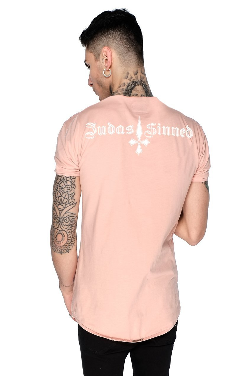 Mens Judas Sinned Brand Carrier Men's Crew T-Shirt - Dusty Pink (T-SHIRT) - Judas Sinned Clothing