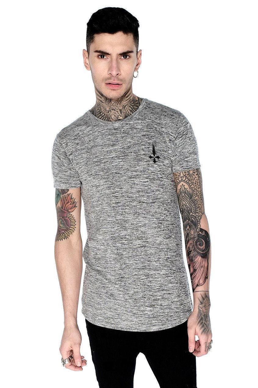 Mens Judas Sinned Curve Hem Marl Men's Crew Neck T-Shirt - Grey (T-SHIRT) - Judas Sinned Clothing