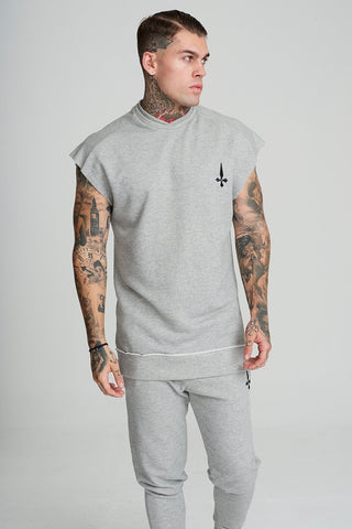 Mens Judas Sinned Men's Cut Off Training Sweat - Grey (CUT OFF VEST T-SHIRT) - Judas Sinned Clothing