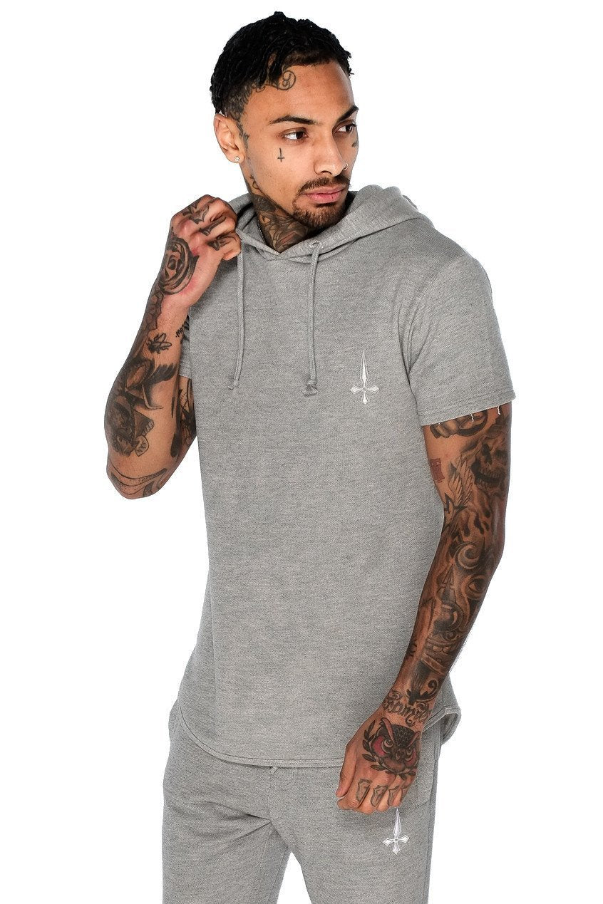Mens Judas Sinned Men's Short Sleeve Training Hoodie - Grey (HOODIE) - Judas Sinned Clothing