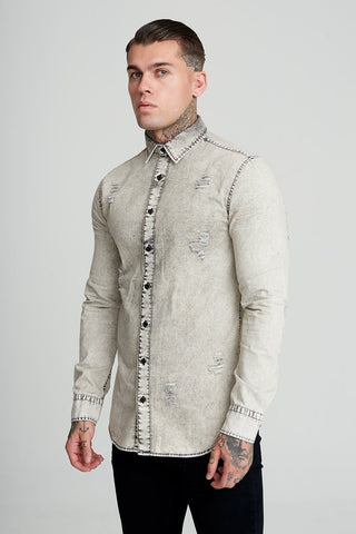 Mens Judas Sinned Russel Distressed Denim Men's Shirt - Light Grey (SHIRT) - Judas Sinned Clothing