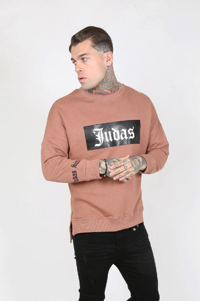 Judas Sinned Acce Split Hem Wet Look Logo Men's Sweatshirt - Pink - Judas Sinned Clothing