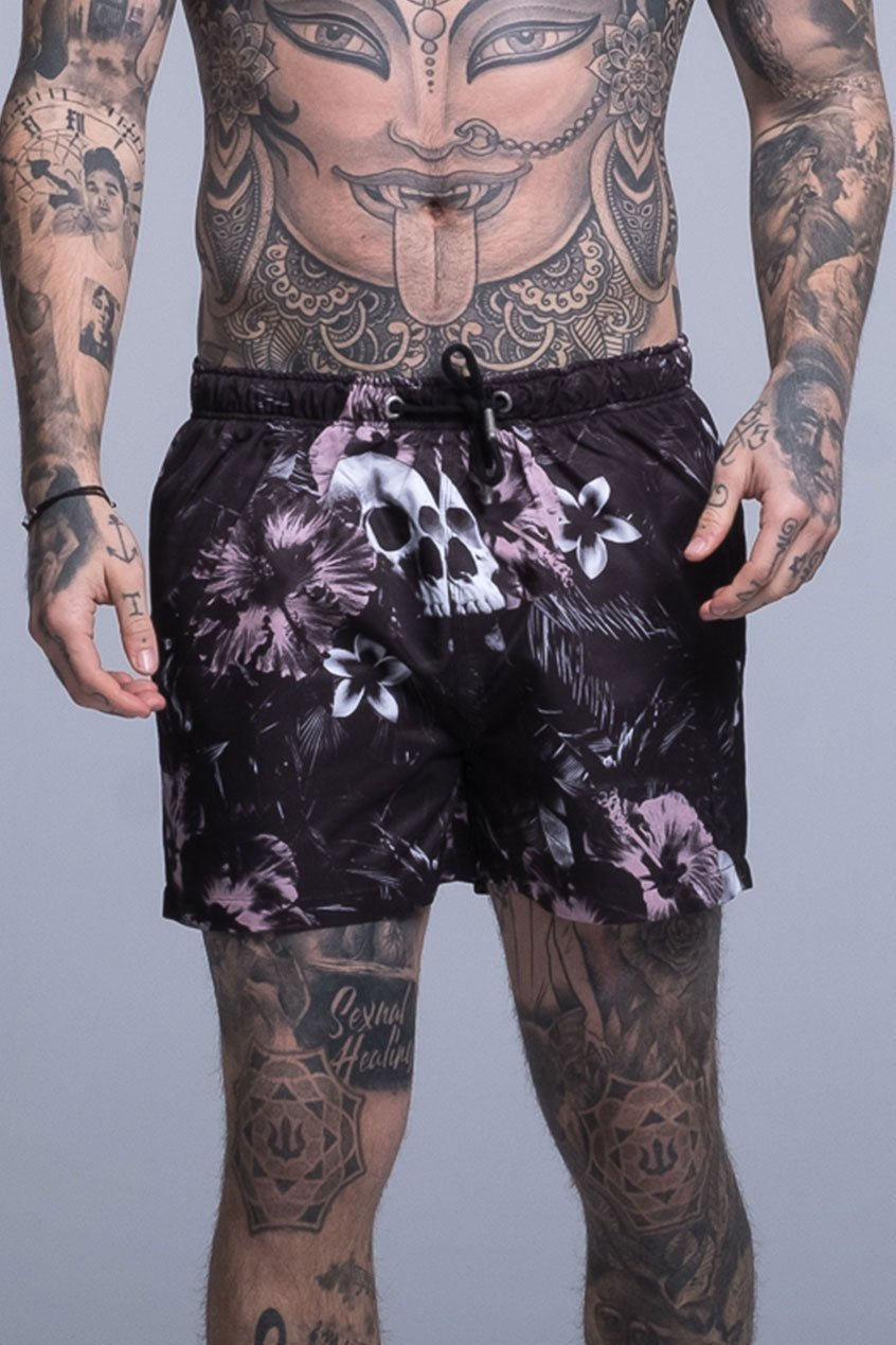Judas Sinned All Over Floral Skull Print Men's Swim Shorts - Black - Judas Sinned Clothing