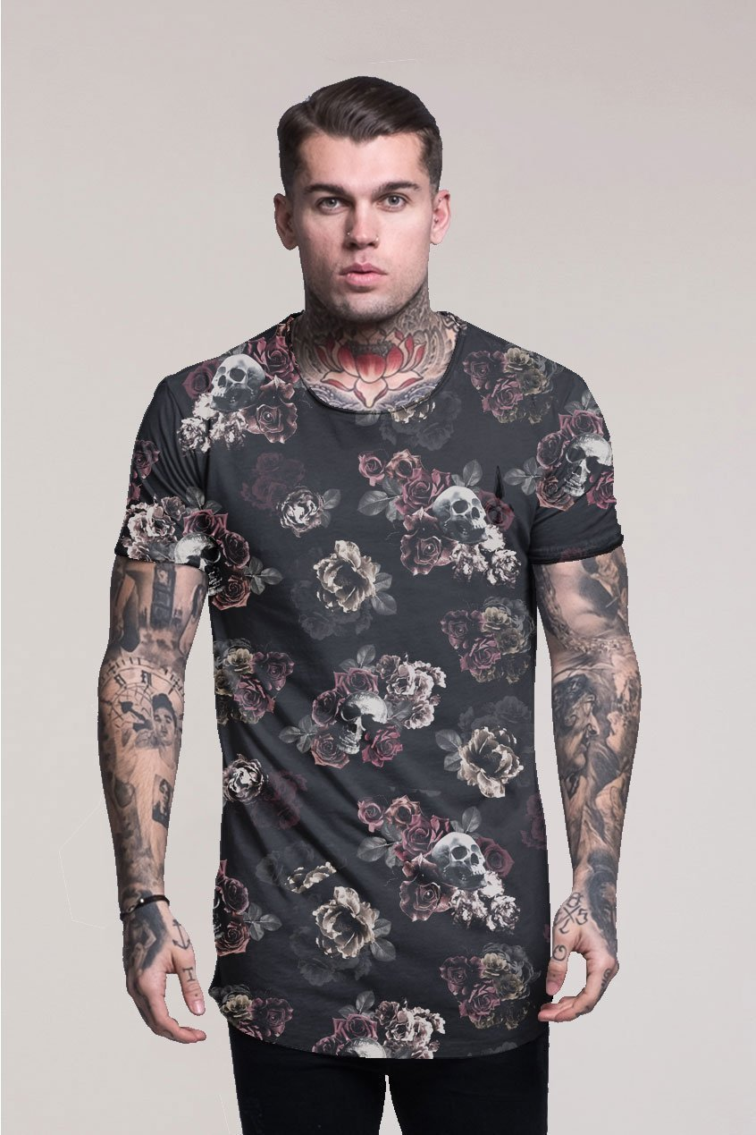 Judas Sinned All Over Roses Skull Print Men's T-Shirt - Black - Judas Sinned Clothing