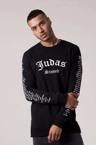 Judas Sinned Embroidery Badge Men's T-Shirt - White