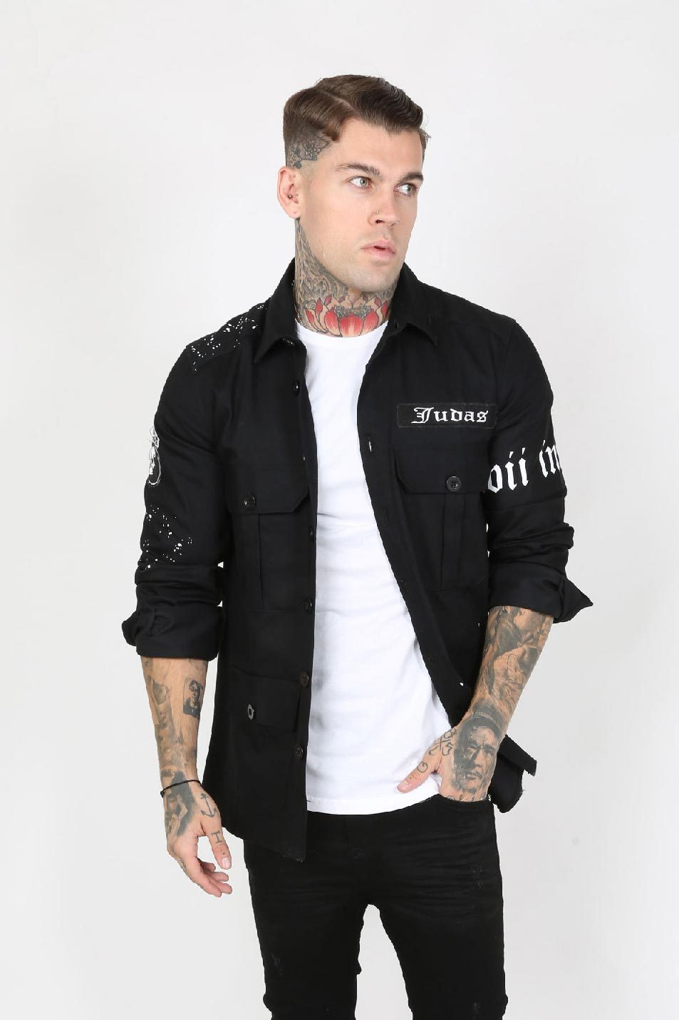 Army Paint Splatter Logo Men's Overshirt - Black - Judas Sinned Clothing