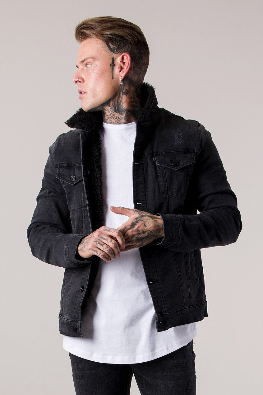Judas Sinned Borg Lined Men's Denim Trucker Jacket - Dark Grey Wash - Judas Sinned Clothing