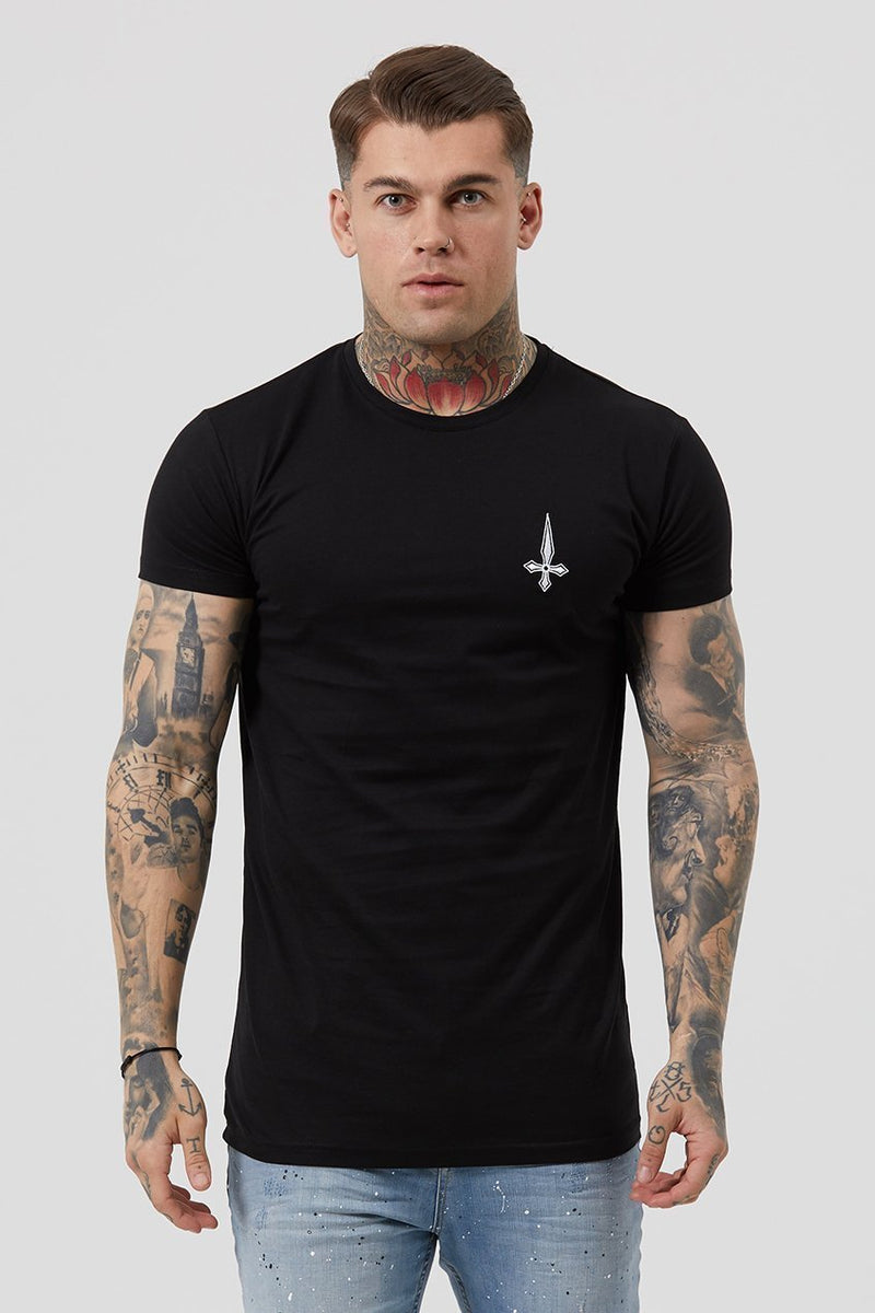 Judas Sinned Crossed Print Men's T-Shirt - Black - Judas Sinned Clothing