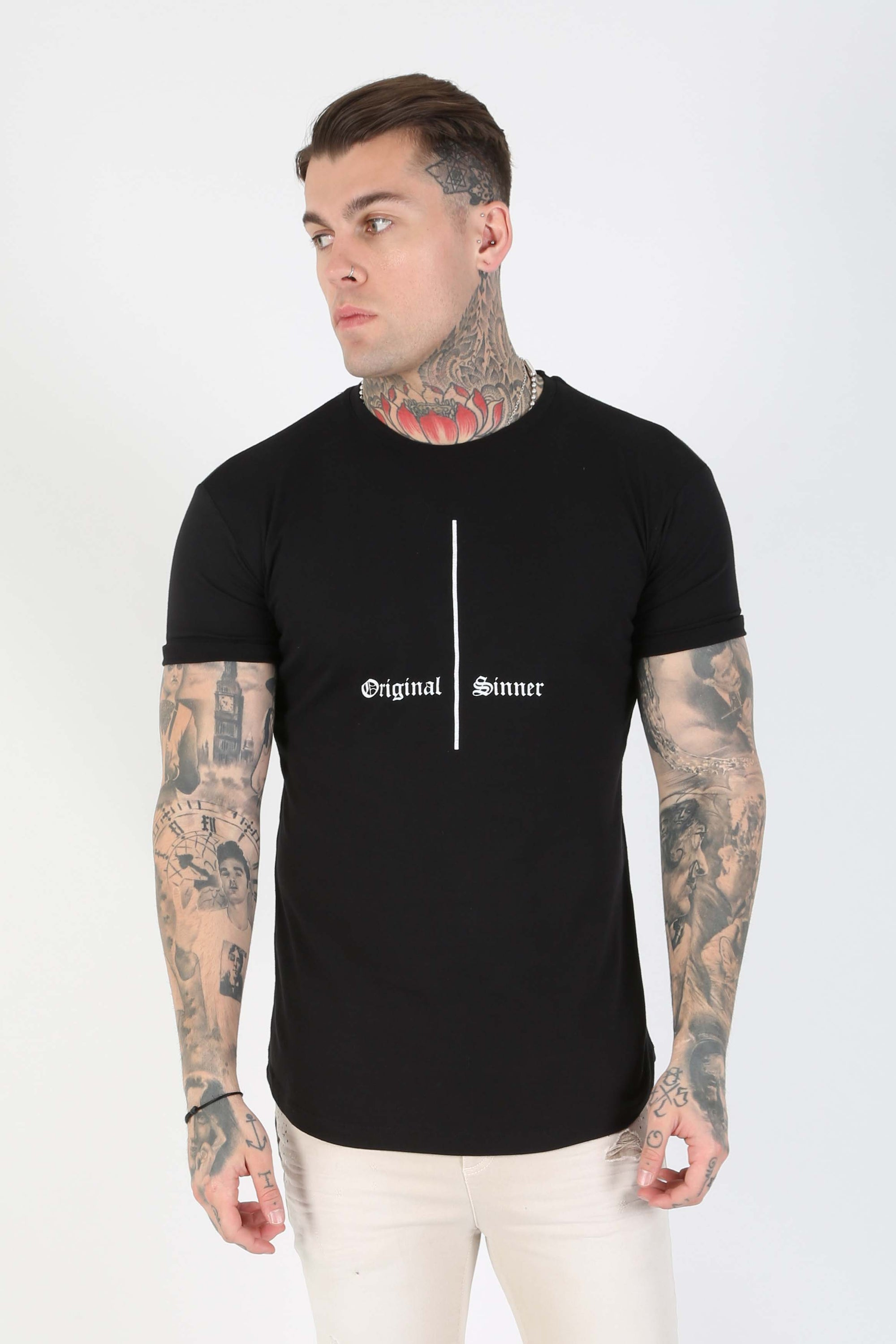 Cruci Print Fitted Men's T-Shirt - Black - Judas Sinned Clothing