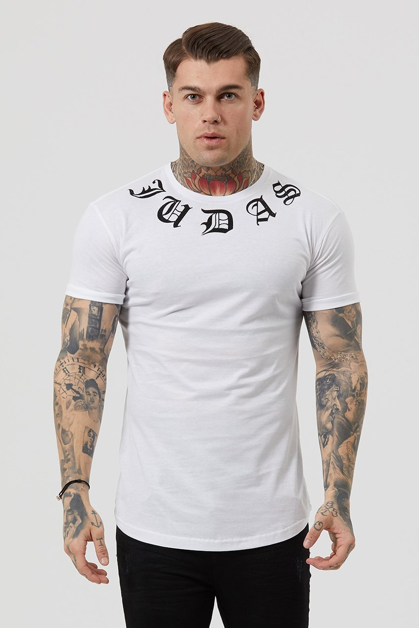 Judas Sinned Crystal Neck Logo Crys Men's T-Shirt - White - Judas Sinned Clothing