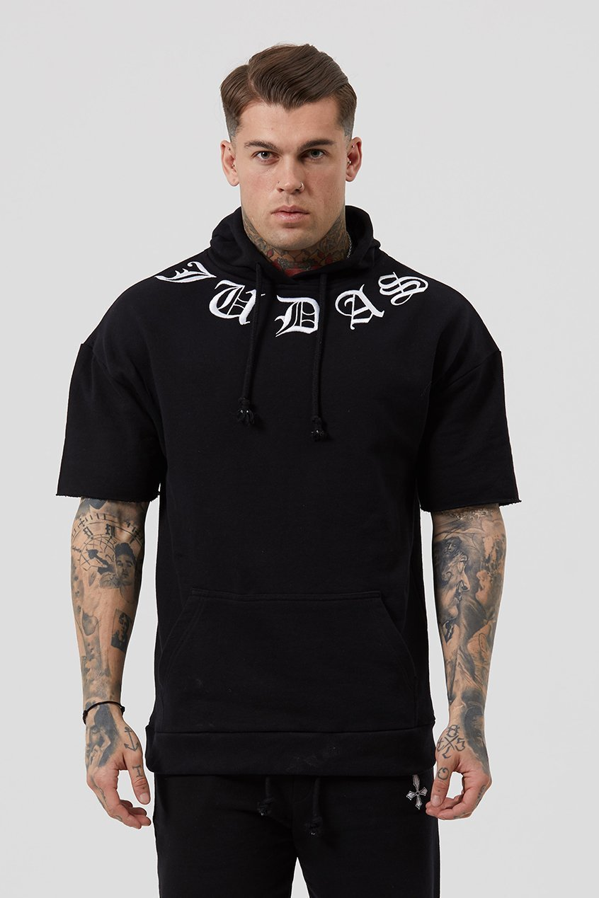 Judas Sinned Cur Embroidered Cut Sleeve Men's Hoodie - Black - Judas Sinned Clothing
