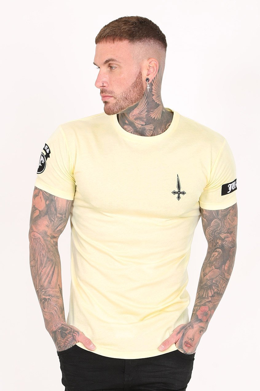 Judas Sinned Double Embroidery Badge Men's T-Shirt - Yellow - Judas Sinned Clothing