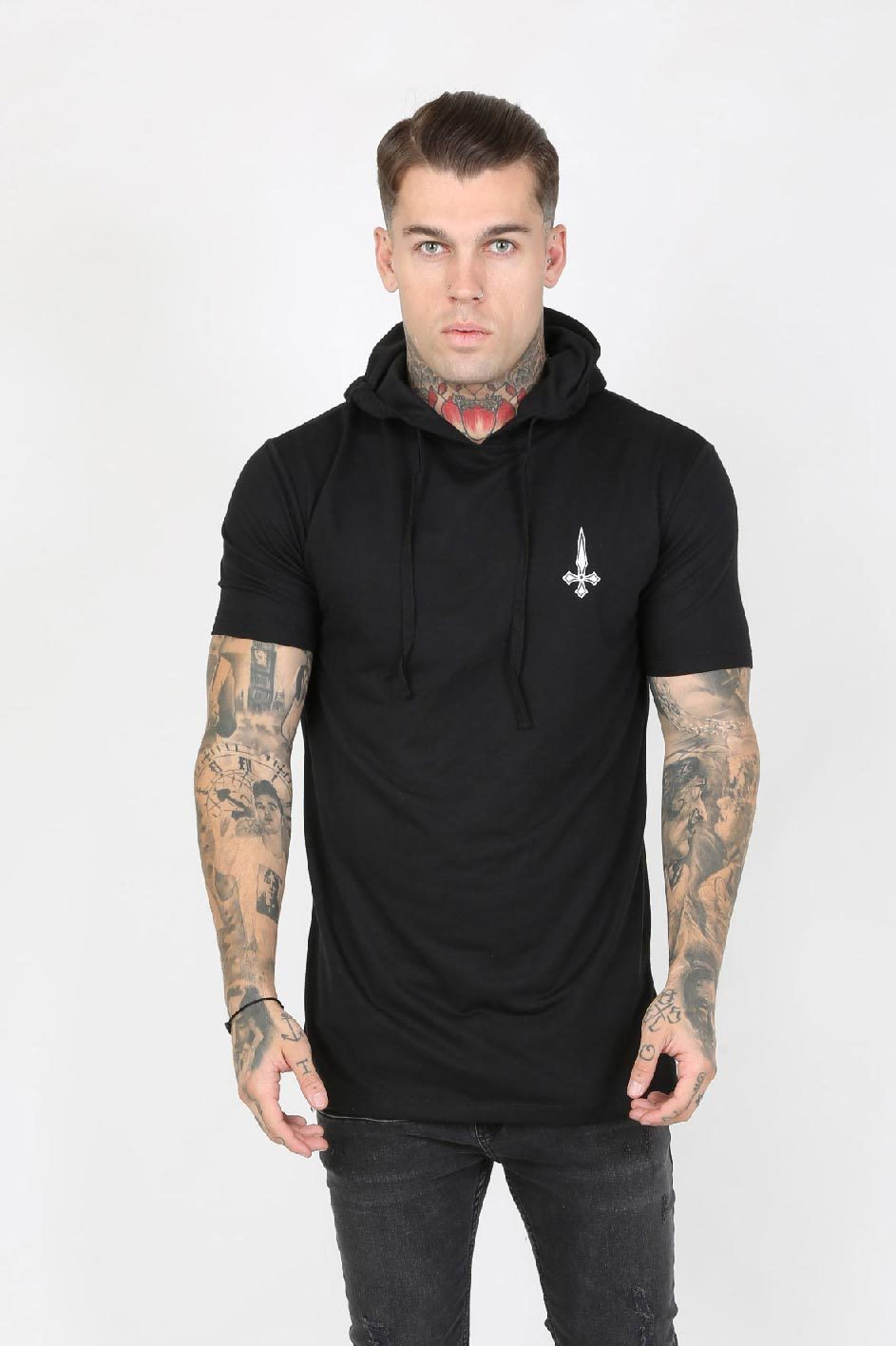 Judas Sinned Dreww Hooded Badge Men's T-Shirt - Black - Judas Sinned Clothing
