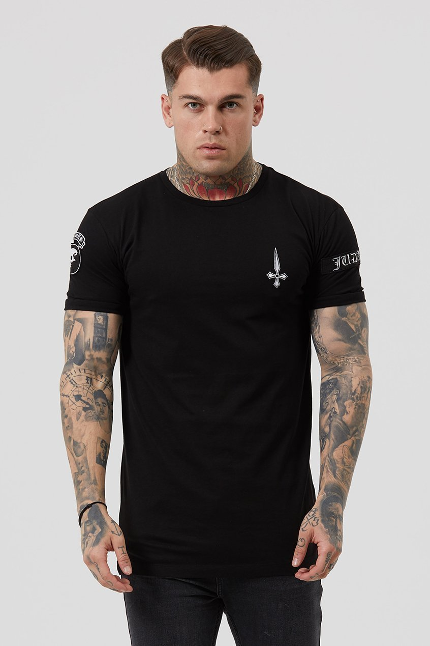Judas Sinned Embroidery Badge Men's T-Shirt - Black - Judas Sinned Clothing