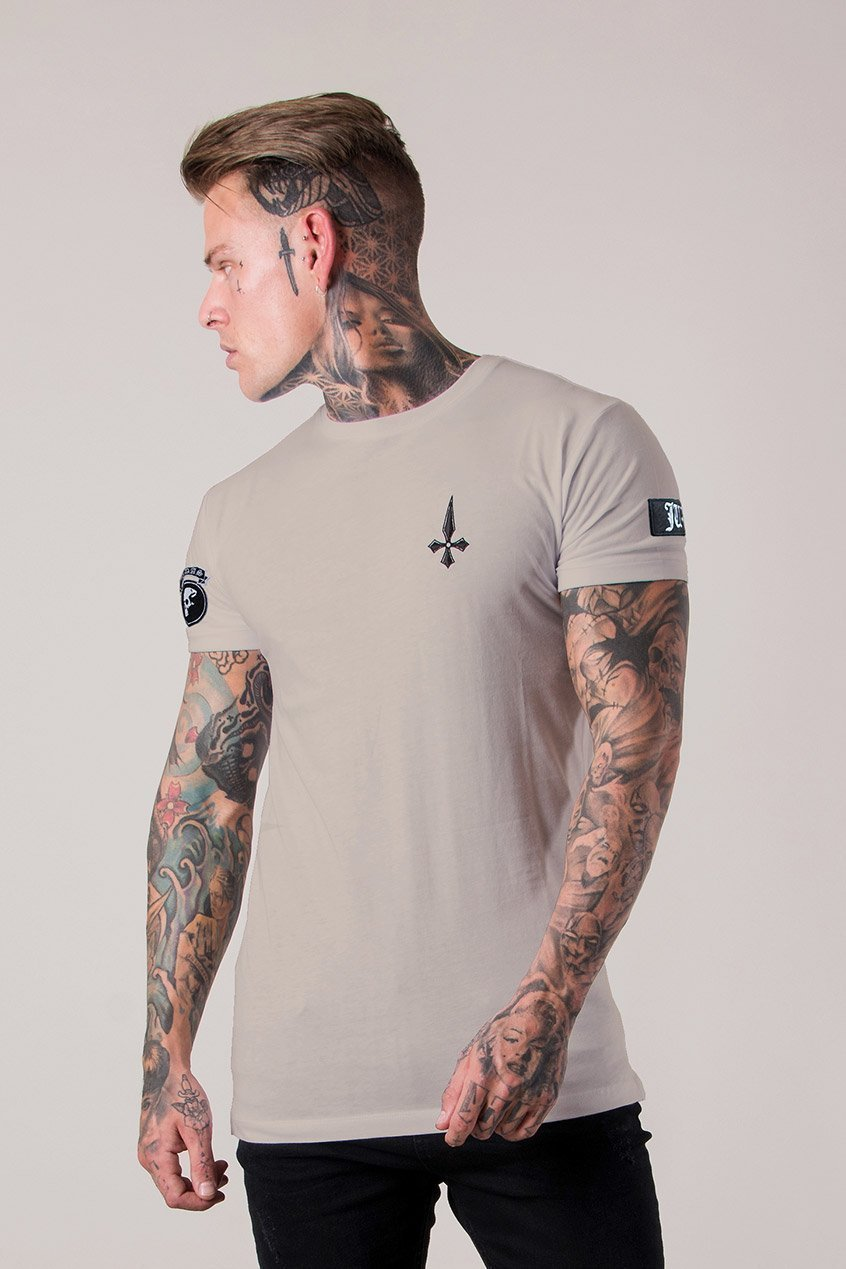 Mens Judas Sinned Embroidery Badge Men's T-Shirt - Plaza Taupe (T-SHIRT) - Judas Sinned Clothing
