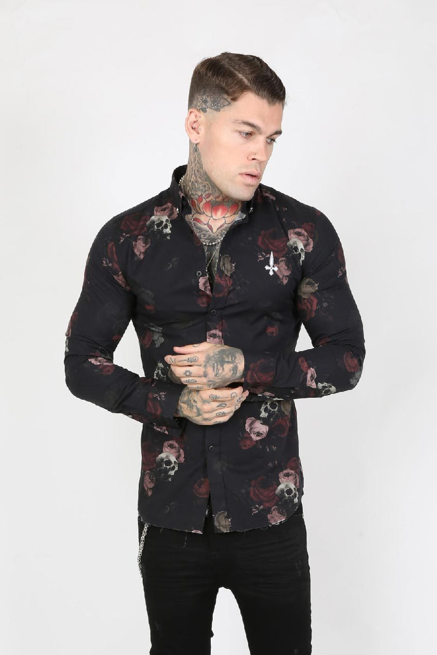 Judas Sinned Eve Skull Print Smart Men's Shirt - Black - Judas Sinned Clothing