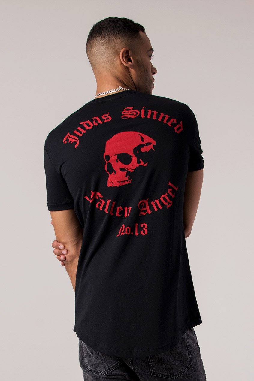 Judas Sinned Fallen Angel Print Curved Hem Men's T-Shirt - Black - Judas Sinned Clothing