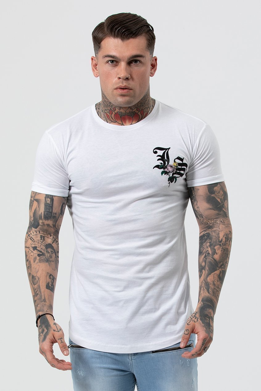 Judas Sinned Flo Crystal Chest Logo Men's T-Shirt - White - Judas Sinned Clothing
