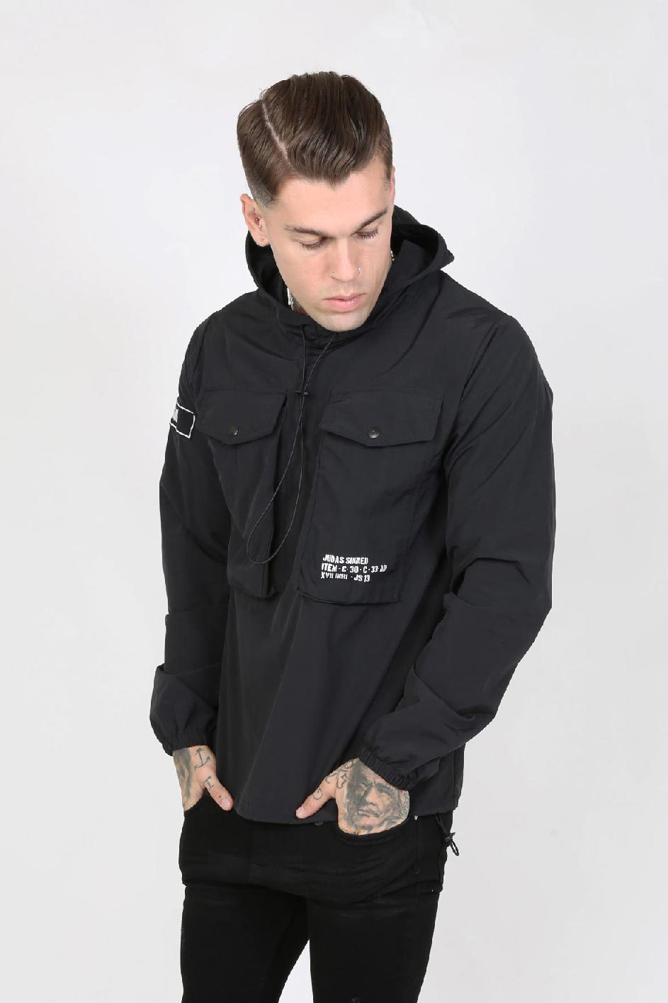 Judas Sinned Ghost Nylon Overhead Utility Pocket Men's Hoodie - Black - Judas Sinned Clothing