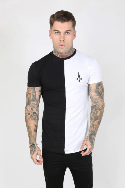 Judas Sinned Hal Crystal Back Split Men's T-Shirt - Black/White - Judas Sinned Clothing