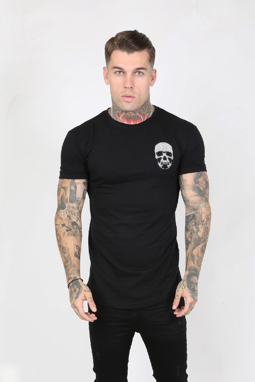 Judas Sinned Junio Crystal Skull Men's T-Shirt - Black - Judas Sinned Clothing