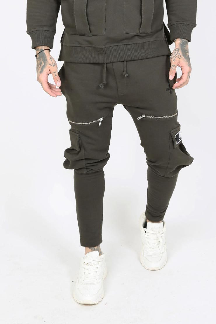 Judas Sinned Kaarg Utility Zip Detail Cargo Men's Joggers - Khaki - Judas Sinned Clothing
