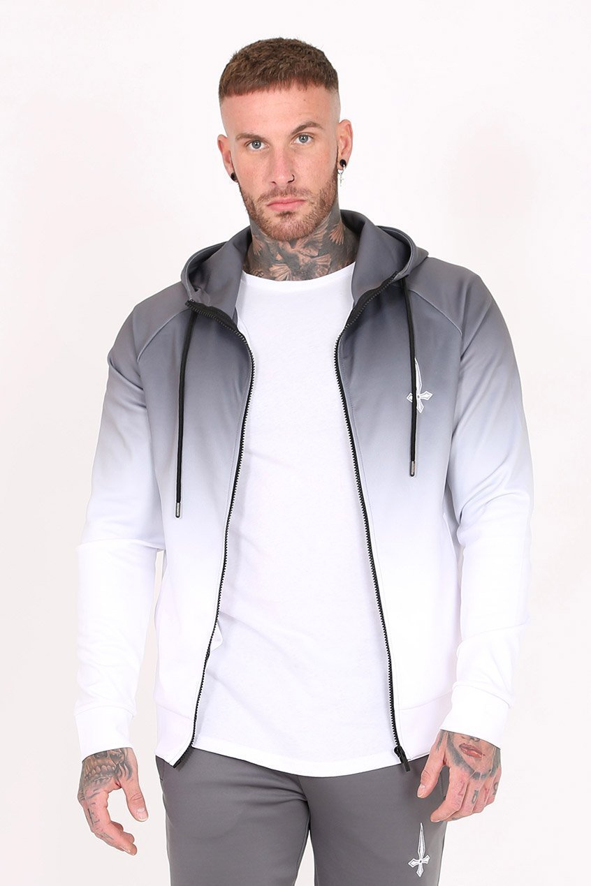 Judas Sinned Midnight Dip Dye Embroidery Men's Hoodie - Grey - Judas Sinned Clothing