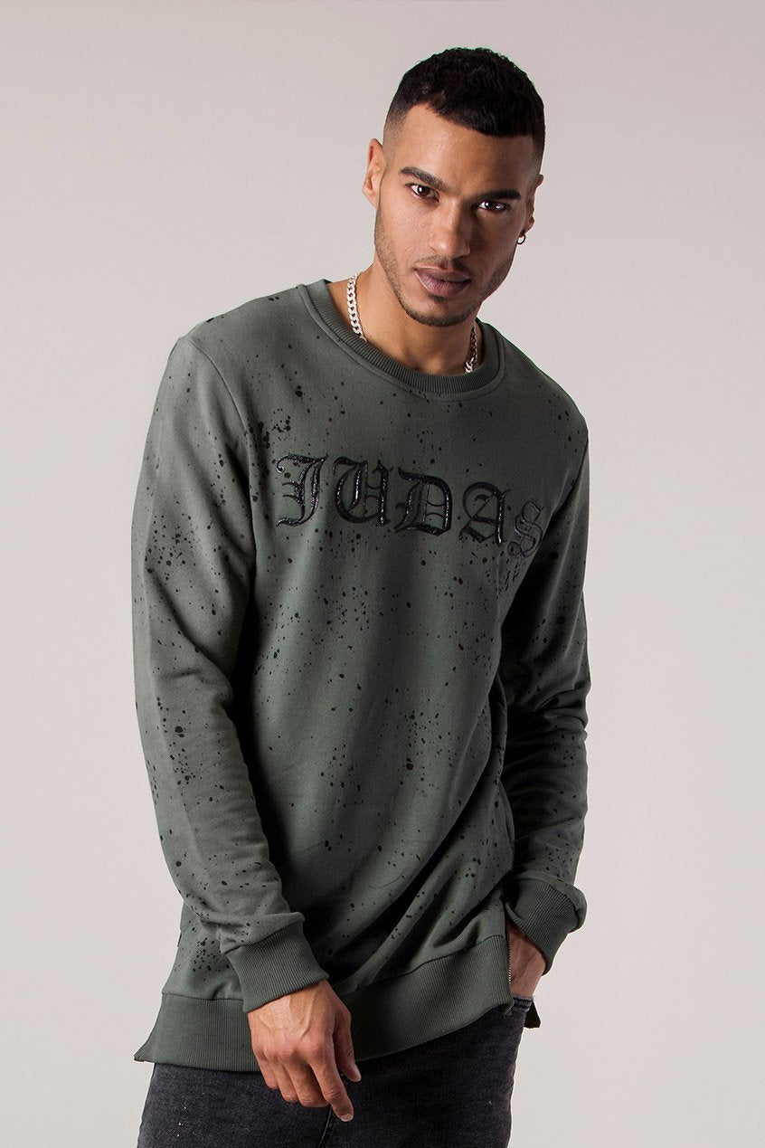 Judas Sinned Mud Oil Dye Men's Sweatshirt - Thyme - Judas Sinned Clothing