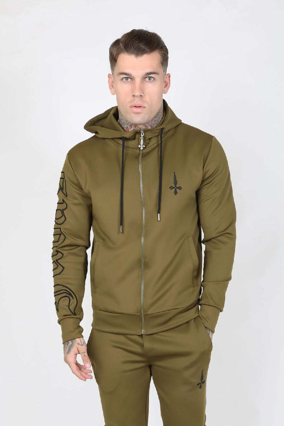 Outline Embroidery Scuba Zip Men's Hoodie - Khaki - Judas Sinned Clothing