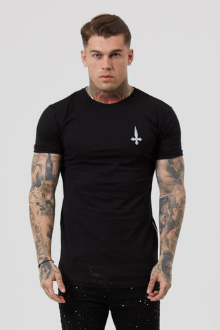 Judas Sinned Pray Print and Embroidery Men's T-Shirt - Black