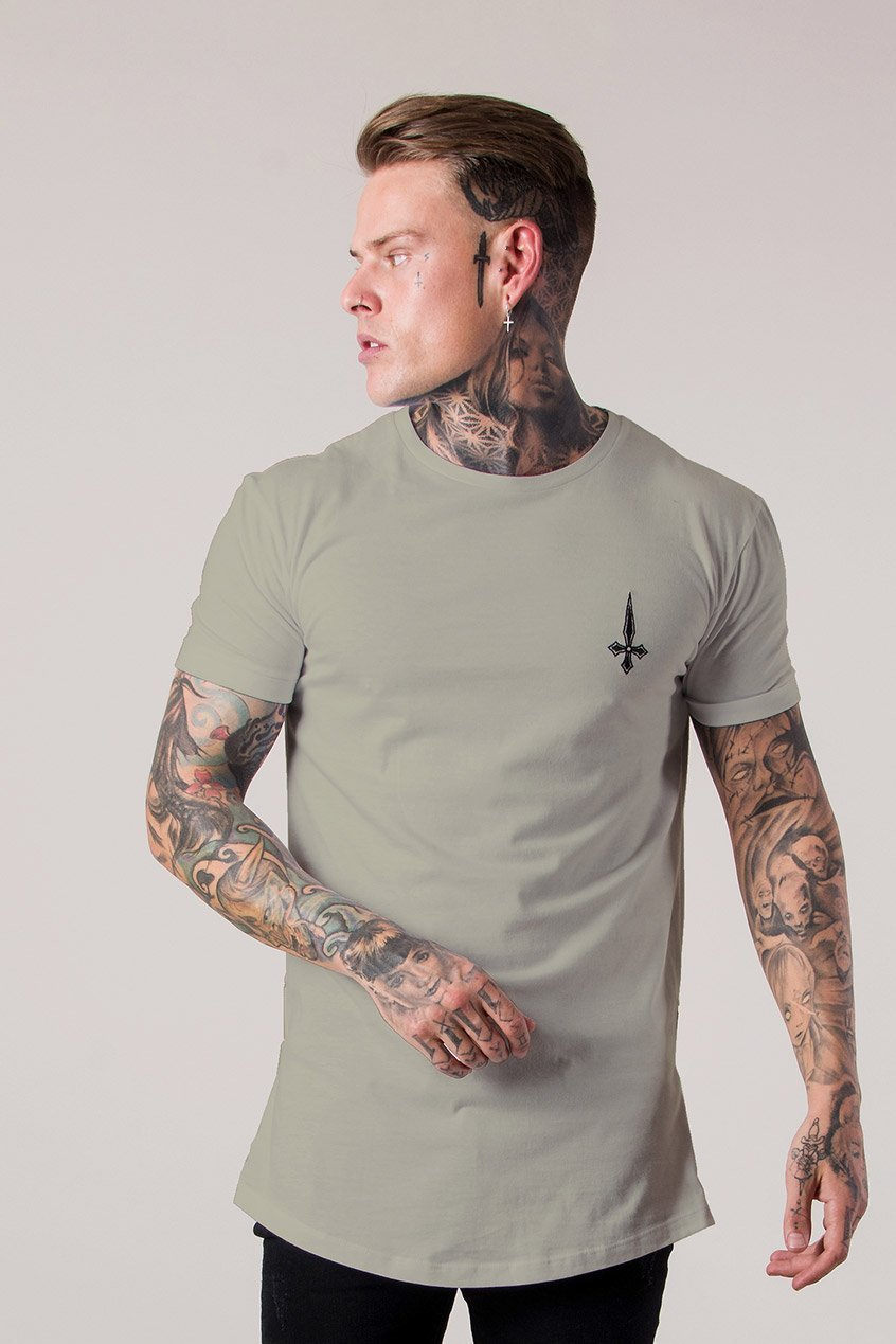 Side Zip Men's T-Shirt - Taupe - Judas Sinned Clothing