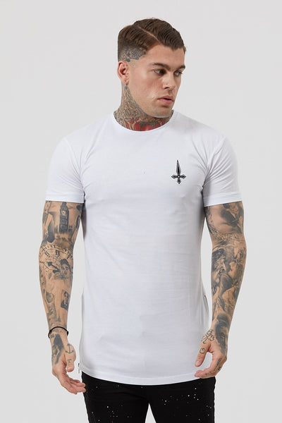 Judas Sinned Side Zip Men's T-Shirt - White - Judas Sinned Clothing