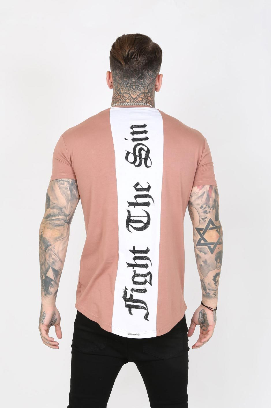 Judas Sinned Slam Crystal Back Stripe Men's T-Shirt - Peach - Judas Sinned Clothing