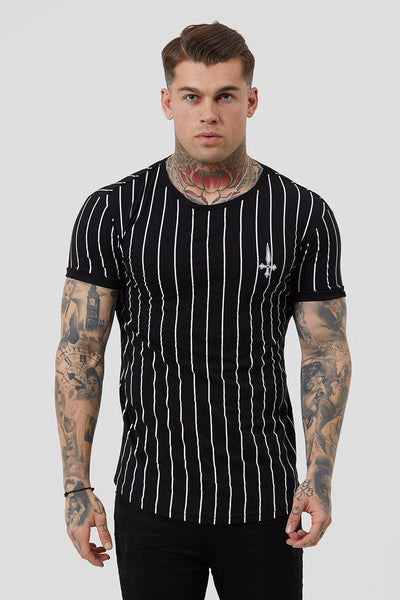 Judas Sinned Stripe Cherub Men's T-Shirt - Black - Judas Sinned Clothing