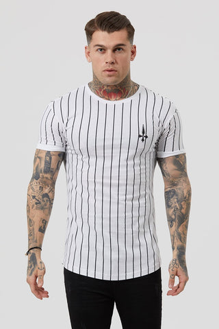 Mens Judas Sinned Stripe Cherub Men's T-Shirt - White (T-SHIRT) - Judas Sinned Clothing