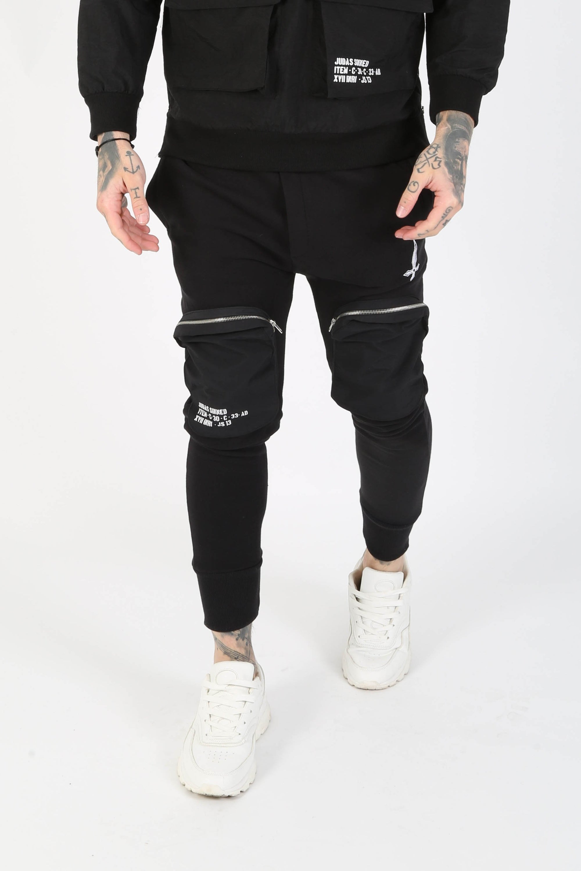 Judas Sinned Swindn Pocket Detail Men's Joggers - Black - Judas Sinned Clothing