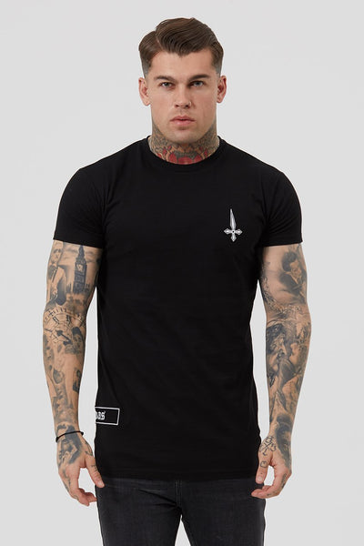 Judas Sinned UK Embroidery Badge Detail Men's T-Shirt - Black - Judas Sinned Clothing