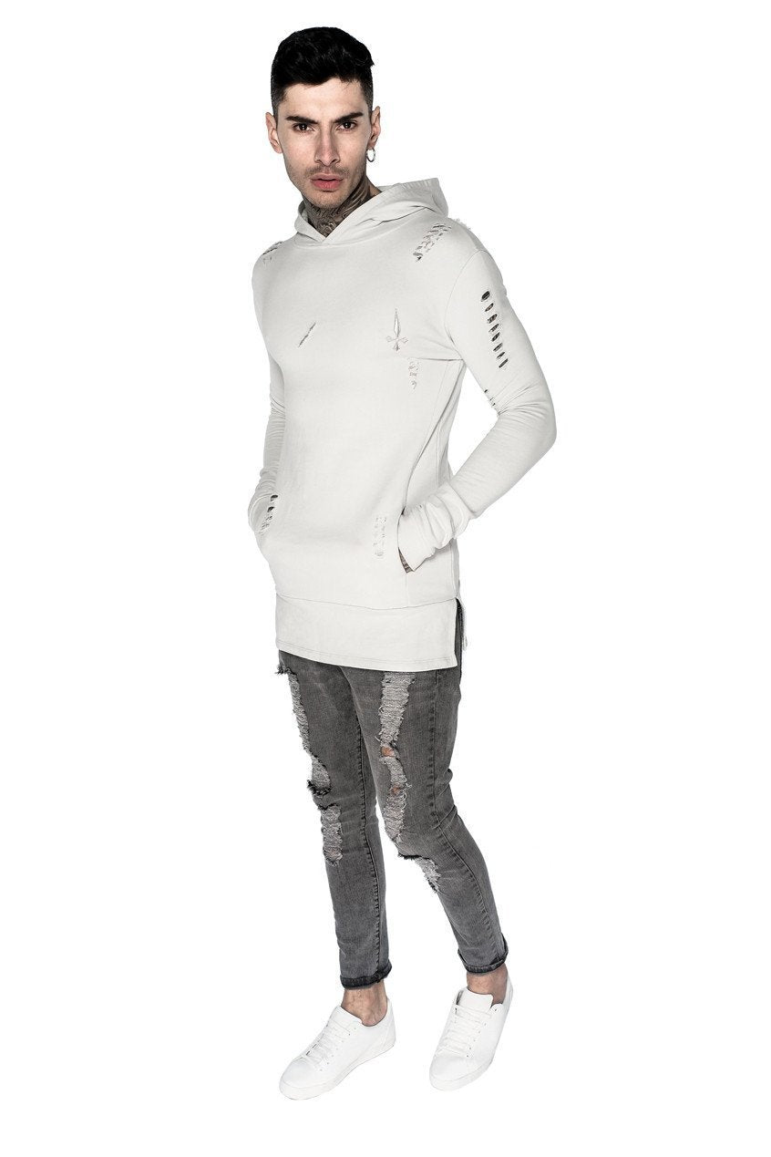 Judas Sinned Clothing HOODIE Small / Pebble Judas Sinned Distressed Core Panel Hoodie - Pebble