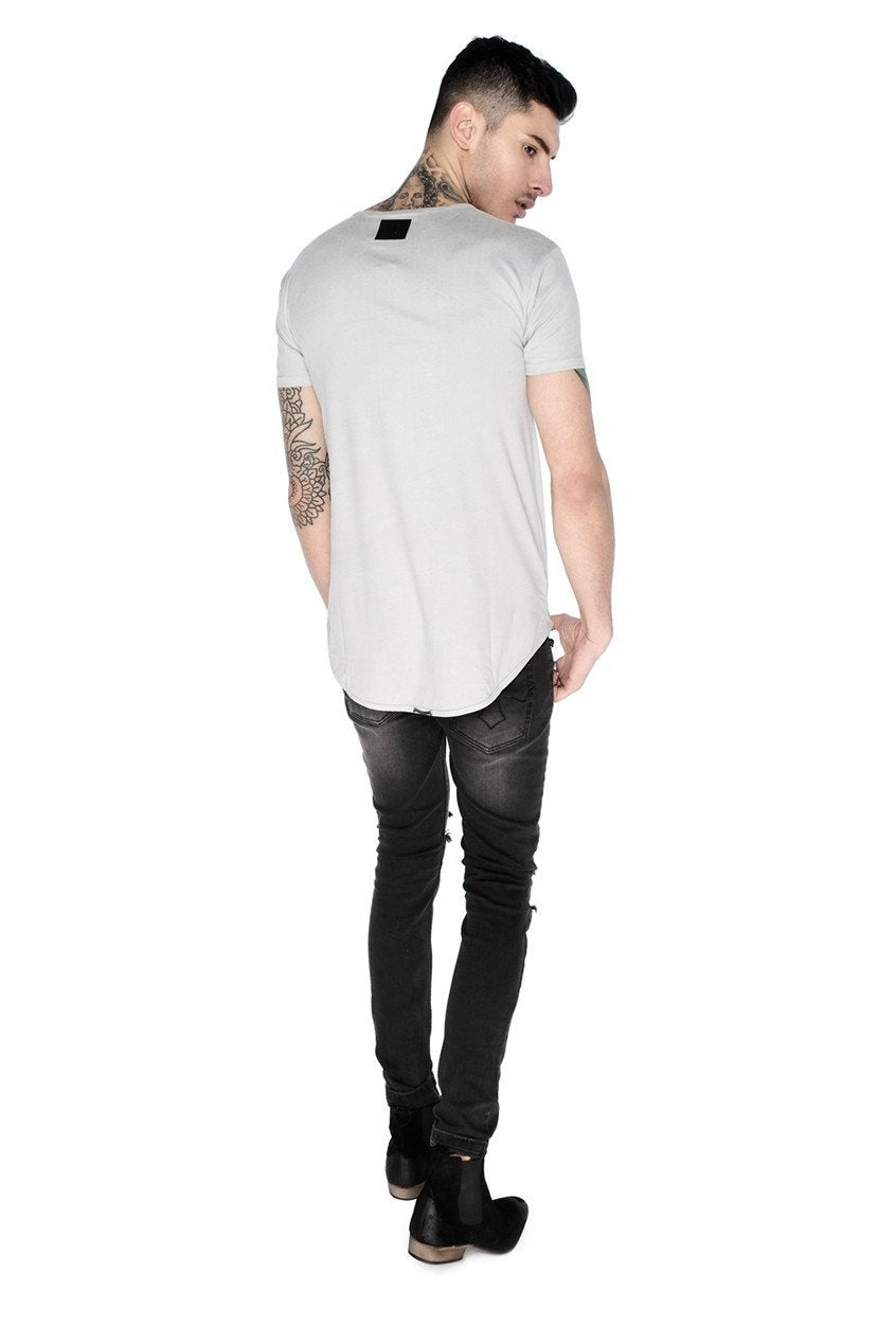 Mens Judas Sinned Suede Effect Jersey T-Shirt - Pebble (T-SHIRT) - Judas Sinned Clothing