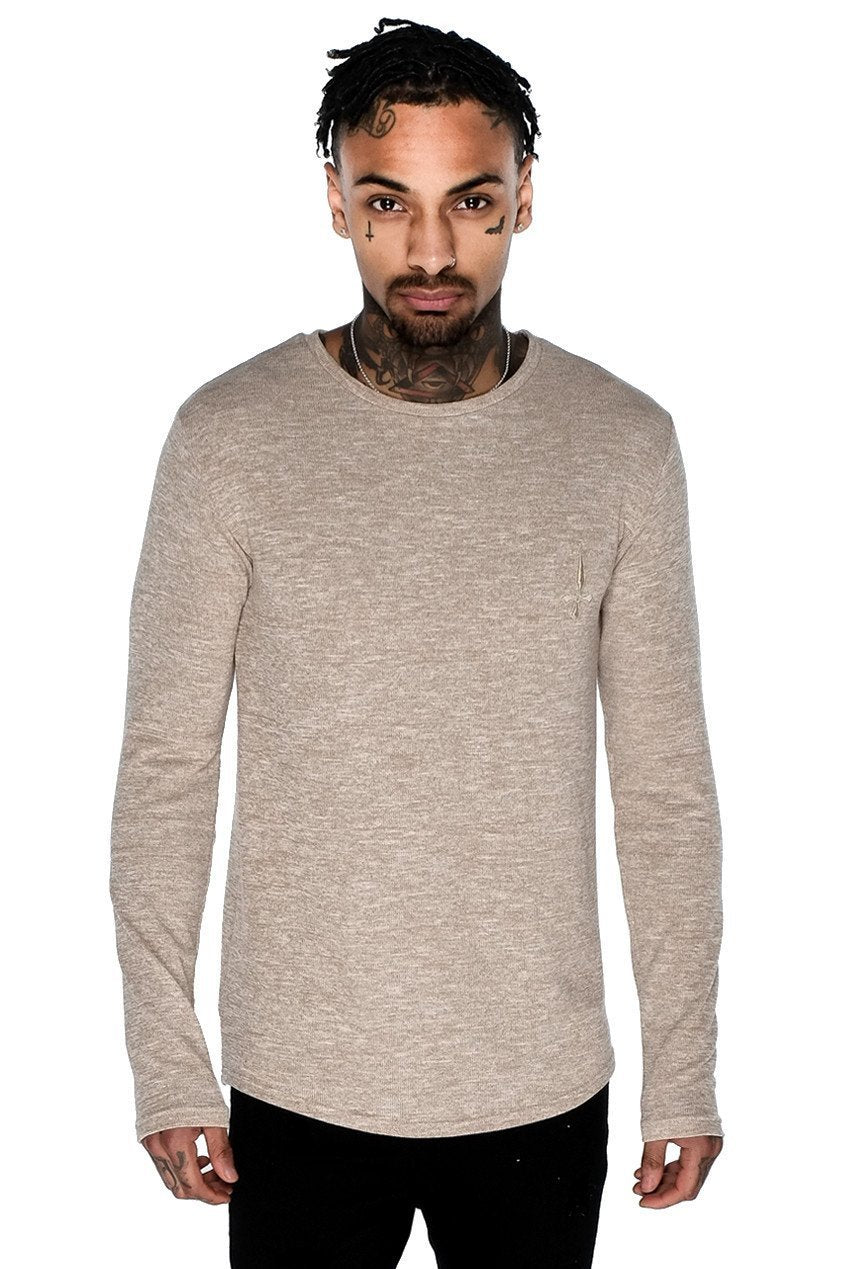 Mens Judas Sinned Long Sleeve Curve Hem Marl Crew T-Shirt - Sand (T-SHIRT) - Judas Sinned Clothing