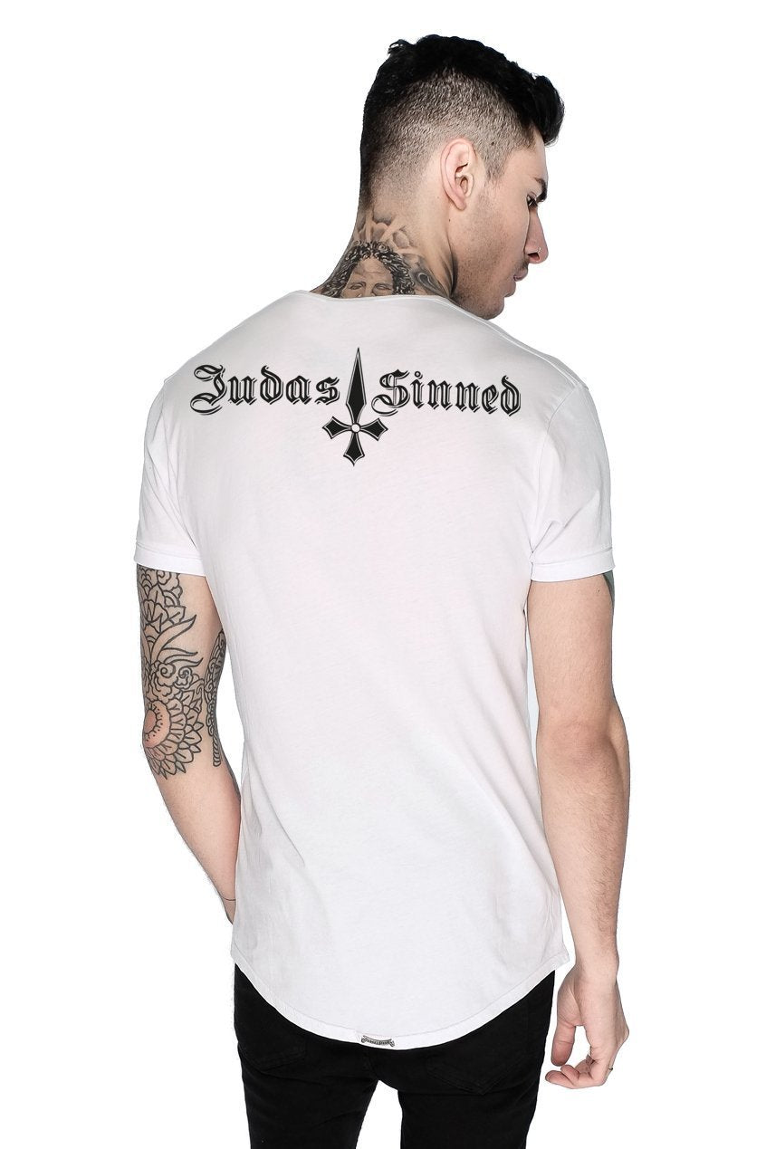 Mens Judas Sinned Brand Carrier Men's Crew T-Shirt - White (T-SHIRT) - Judas Sinned Clothing