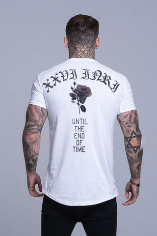 Mens Judas Sinned Crystal Time Embroidery Men's T-Shirt - White (T-SHIRT) - Judas Sinned Clothing