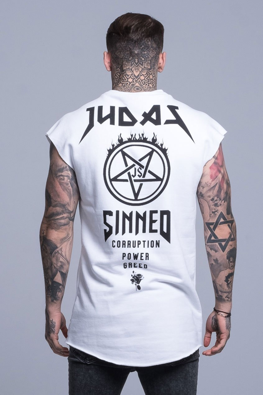 Mens Judas Sinned Double Collar Rebel Cut Off Sweatshirt - White (T-SHIRT) - Judas Sinned Clothing