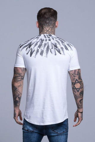 Mens Judas Sinned Feather Logo Men's T-Shirt - White (T-SHIRT) - Judas Sinned Clothing