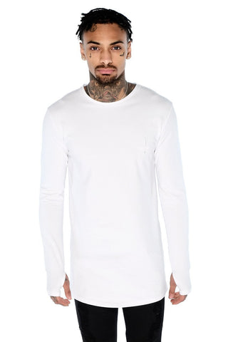 Mens Judas Sinned Long Sleeved Super Stretch Men's Crew Neck T-Shirt - White (T-SHIRT) - Judas Sinned Clothing